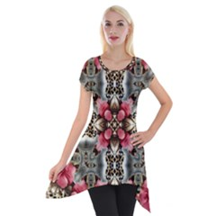 Flowers Fabric Short Sleeve Side Drop Tunic