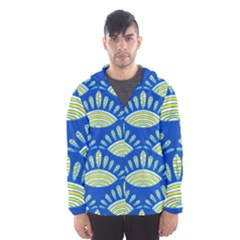 Sea Shells Blue Yellow Hooded Wind Breaker (Men)