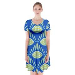 Sea Shells Blue Yellow Short Sleeve V Neck Flare Dress