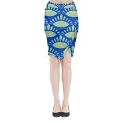 Sea Shells Blue Yellow Midi Wrap Pencil Skirt