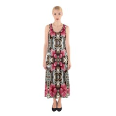 Flowers Fabric Sleeveless Maxi Dress