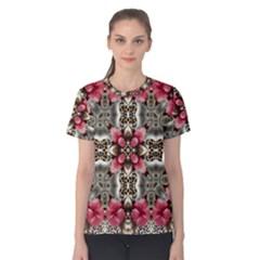 Flowers Fabric Women s Cotton Tee