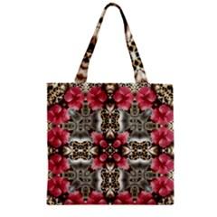 Flowers Fabric Zipper Grocery Tote Bag