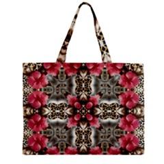 Flowers Fabric Zipper Mini Tote Bag