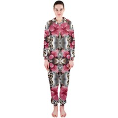 Flowers Fabric Hooded Jumpsuit (ladies)