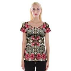 Flowers Fabric Women s Cap Sleeve Top