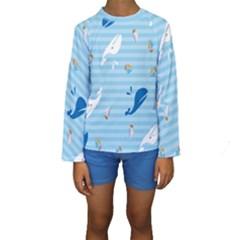 Whaling Ship Blue Sea Beach Animals Kids  Long Sleeve Swimwear