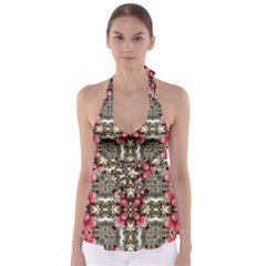 Flowers Fabric Babydoll Tankini Top