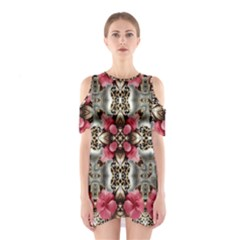 Flowers Fabric Shoulder Cutout One Piece