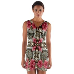 Flowers Fabric Wrap Front Bodycon Dress