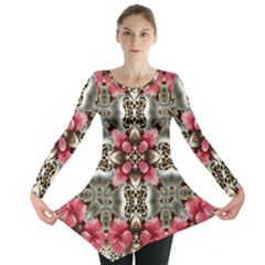 Flowers Fabric Long Sleeve Tunic