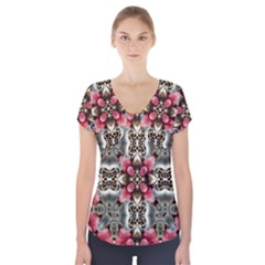 Flowers Fabric Short Sleeve Front Detail Top