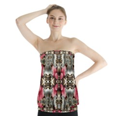 Flowers Fabric Strapless Top