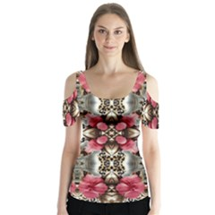 Flowers Fabric Butterfly Sleeve Cutout Tee