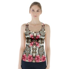 Flowers Fabric Racer Back Sports Top
