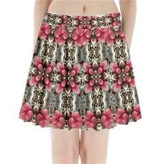 Flowers Fabric Pleated Mini Skirt