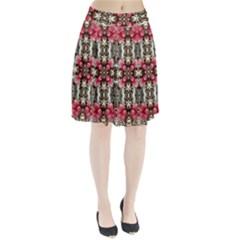 Flowers Fabric Pleated Skirt