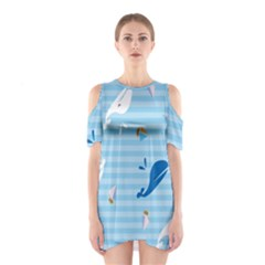 Whaling Ship Blue Sea Beach Animals Shoulder Cutout One Piece
