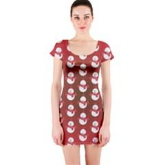 Card Cartoon Christmas Cold Short Sleeve Bodycon Dress