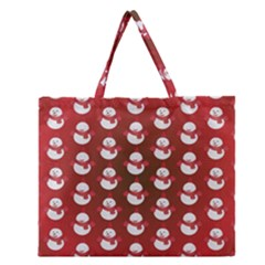 Card Cartoon Christmas Cold Zipper Large Tote Bag