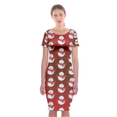 Card Cartoon Christmas Cold Classic Short Sleeve Midi Dress