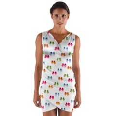 Pattern Birds Cute Design Nature Wrap Front Bodycon Dress