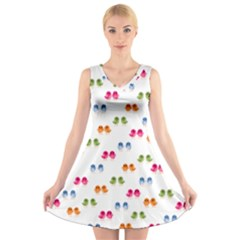 Pattern Birds Cute Design Nature V Neck Sleeveless Skater Dress
