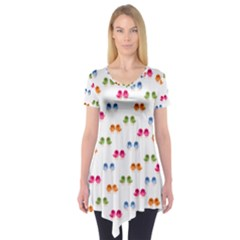 Pattern Birds Cute Design Nature Short Sleeve Tunic