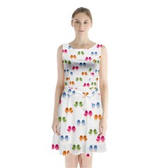 Pattern Birds Cute Design Nature Sleeveless Chiffon Waist Tie Dress