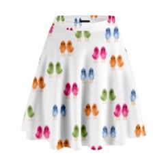Pattern Birds Cute Design Nature High Waist Skirt