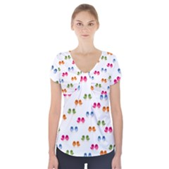 Pattern Birds Cute Design Nature Short Sleeve Front Detail Top