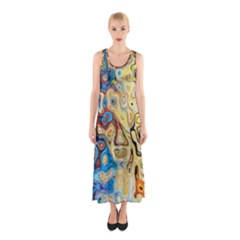 Background Structure Absstrakt Color Texture Sleeveless Maxi Dress