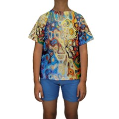 Background Structure Absstrakt Color Texture Kids  Short Sleeve Swimwear