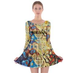 Background Structure Absstrakt Color Texture Long Sleeve Skater Dress