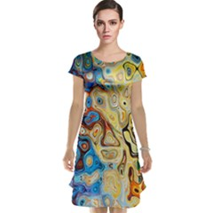 Background Structure Absstrakt Color Texture Cap Sleeve Nightdress