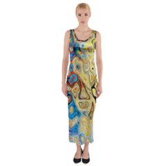 Background Structure Absstrakt Color Texture Fitted Maxi Dress