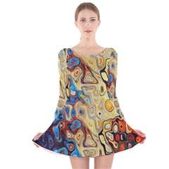 Background Structure Absstrakt Color Texture Long Sleeve Velvet Skater Dress