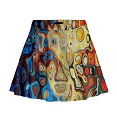 Background Structure Absstrakt Color Texture Mini Flare Skirt