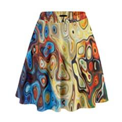 Background Structure Absstrakt Color Texture High Waist Skirt