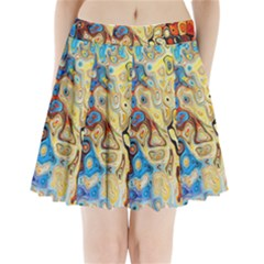 Background Structure Absstrakt Color Texture Pleated Mini Skirt