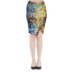 Background Structure Absstrakt Color Texture Midi Wrap Pencil Skirt