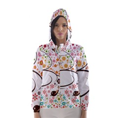 Flower Floral Rose Sunflower Bird Back Color Orange Purple Yellow Red Hooded Wind Breaker (Women)