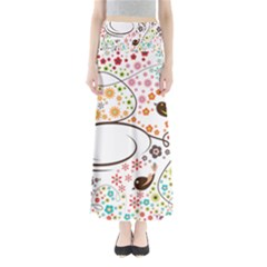 Flower Floral Rose Sunflower Bird Back Color Orange Purple Yellow Red Maxi Skirts