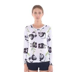 Panda Tile Cute Pattern Women s Long Sleeve Tee