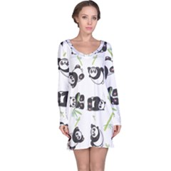 Panda Tile Cute Pattern Long Sleeve Nightdress