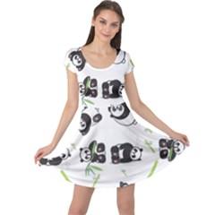 Panda Tile Cute Pattern Cap Sleeve Dresses