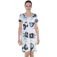 Panda Tile Cute Pattern Short Sleeve Nightdress