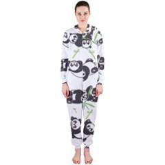 Panda Tile Cute Pattern Hooded Jumpsuit (Ladies)