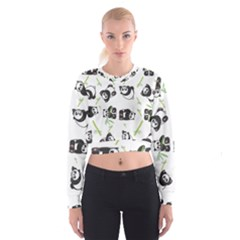 Panda Tile Cute Pattern Women s Cropped Sweatshirt
