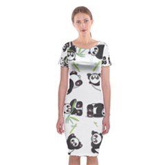 Panda Tile Cute Pattern Classic Short Sleeve Midi Dress